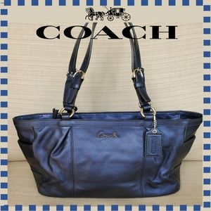 Coach Midnight Blue Metallic Leather Tote Purse